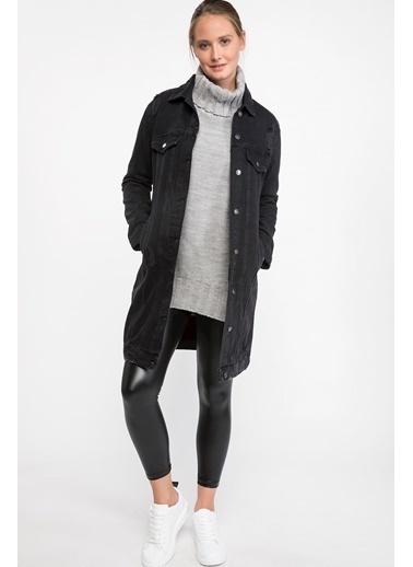 DeFacto Uzun Denim Ceket Siyah